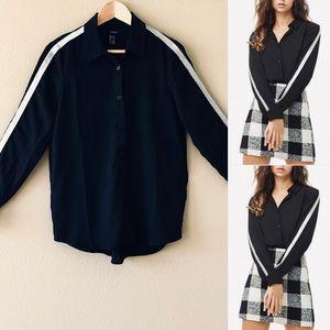 F21⚡️Metallic Trim Chiffon Black Shirt_S